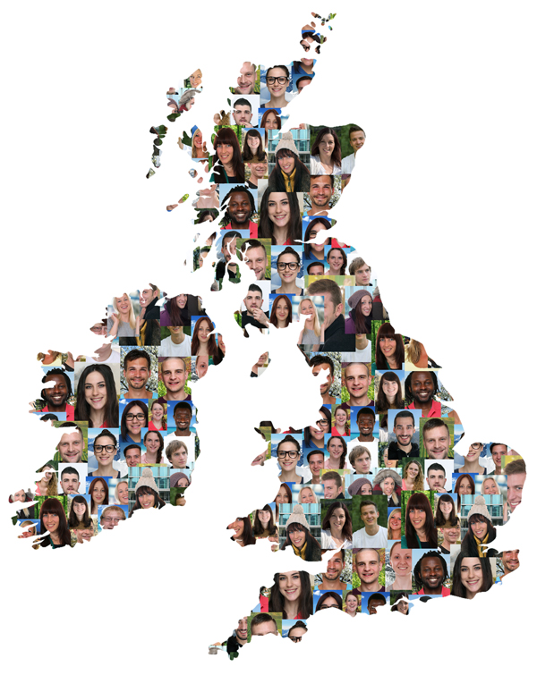 Great Britain and Ireland map multicultural group of young people integration diversity isolated